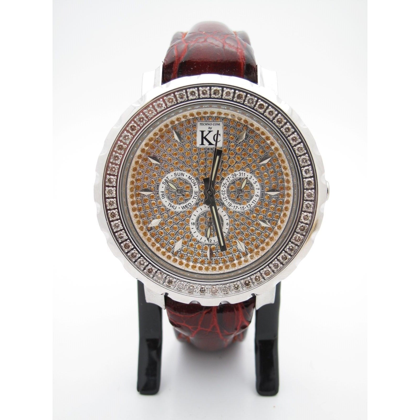Techno Com By Kc Men S 1 00ct Diamonds Gold Chrono Dial Brown Band Watch