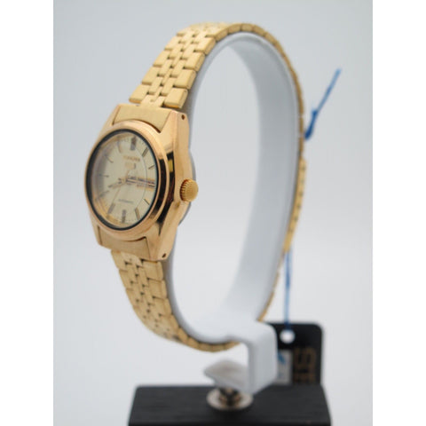 SZ Seiko Ladies Gold Stainless Steel Gold Tone Dial Watch 080605