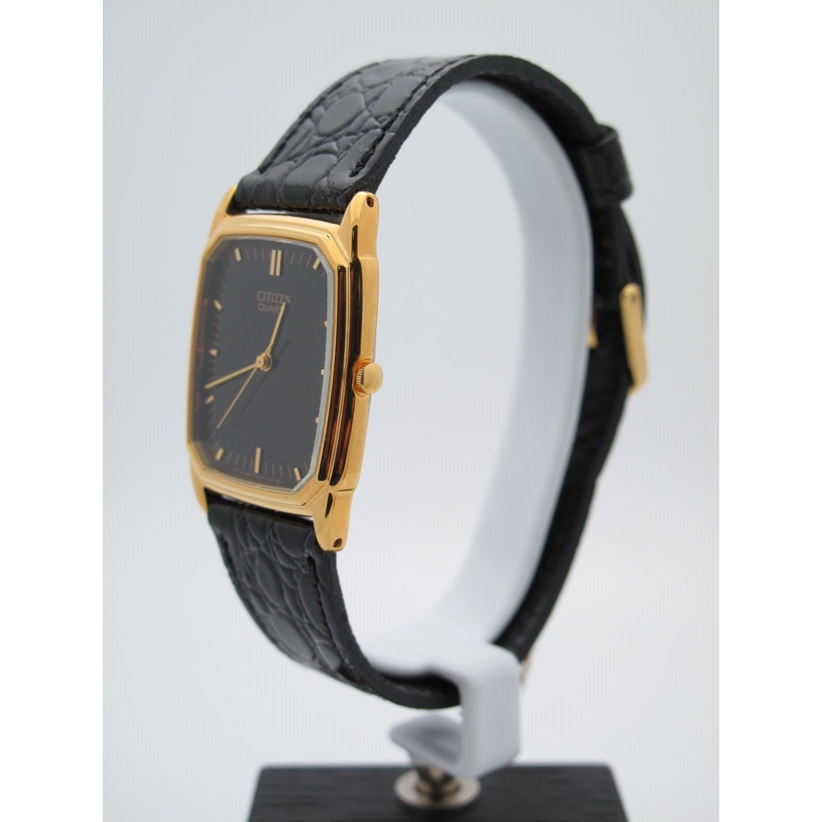 Citizen Gold Stainless Steel Black Dial Black Leather Band Watch 6031 R06586