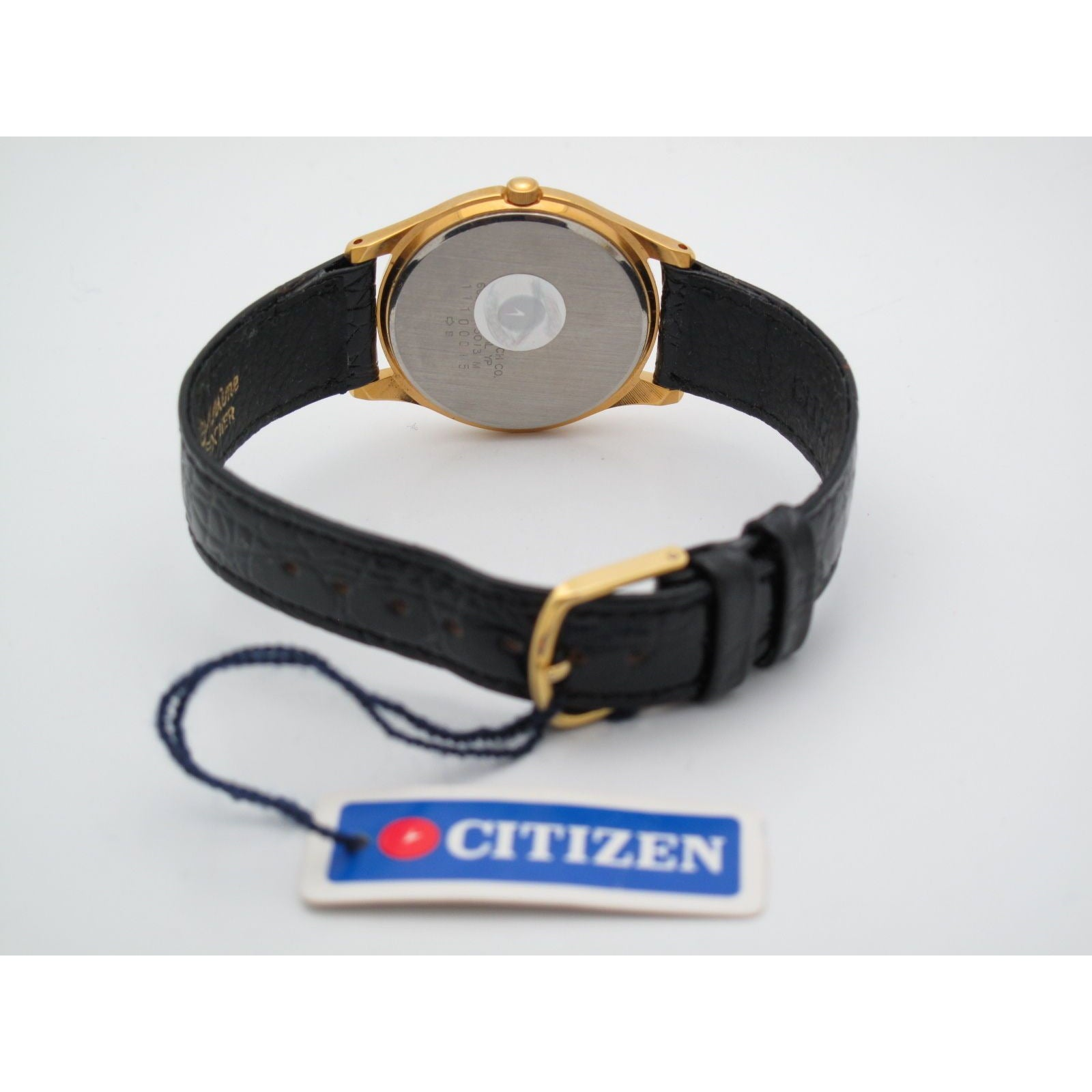 Citizen Men's Gold Stainless Steel Silver Dial Black Leather Band Watch 11100015