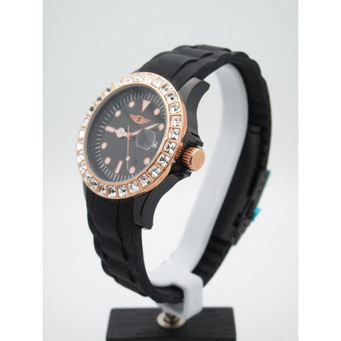 Invicta Ladies Rose Gold Crystal Bezel Black Dial Band Watch IBI10067-009