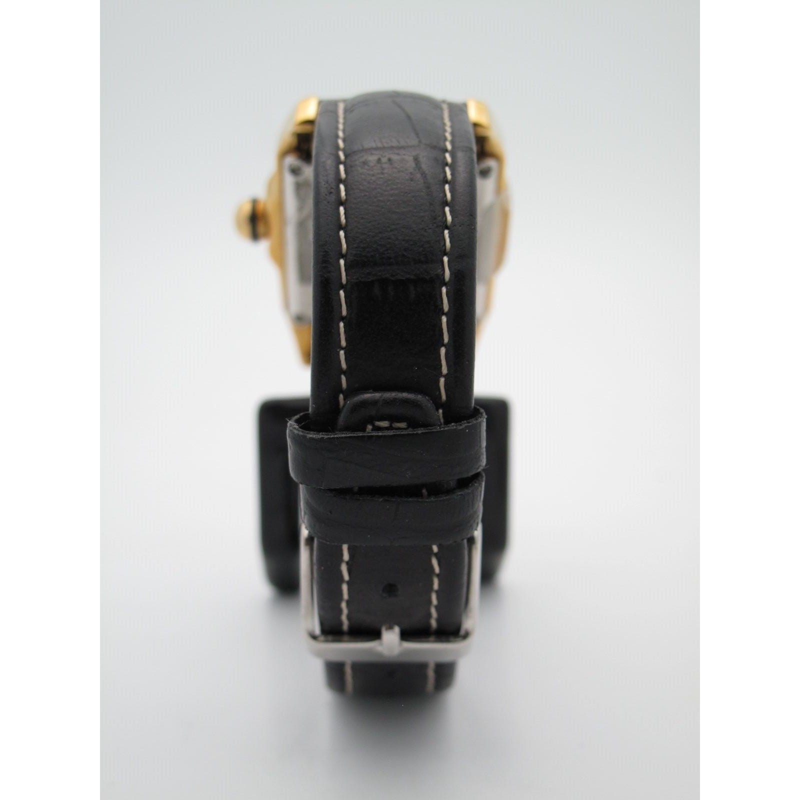 Techno Com. By KC Ladies Gold-Tone Diamond Bezel Day Date Dial Black Strap Watch
