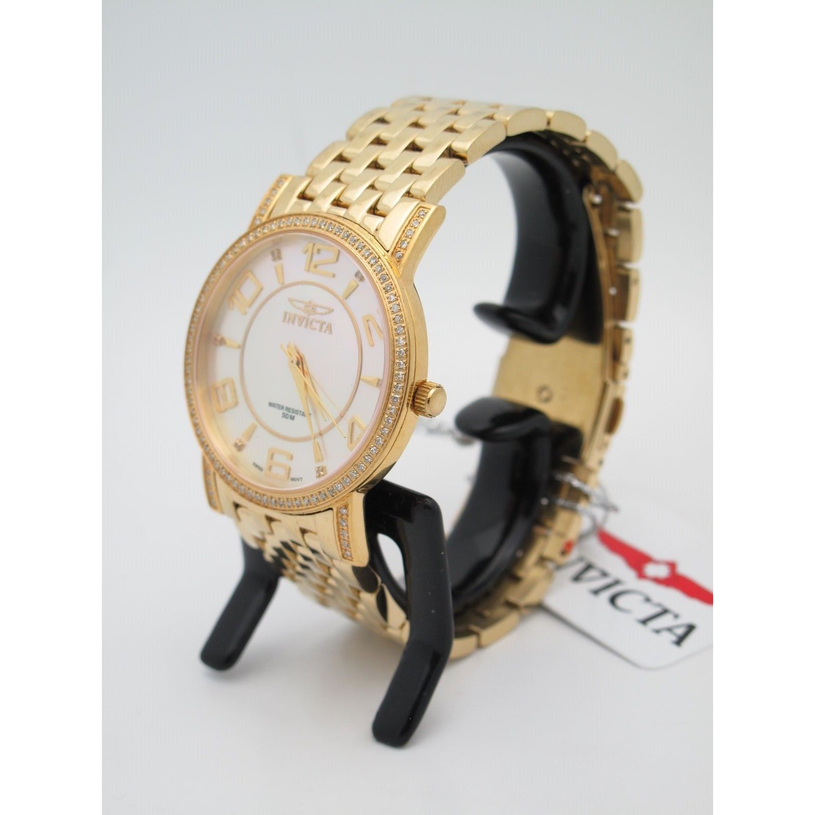 Invicta Ladies Gold-Tone Stainless Steel Mother Of Pearl Dial Watch 3609