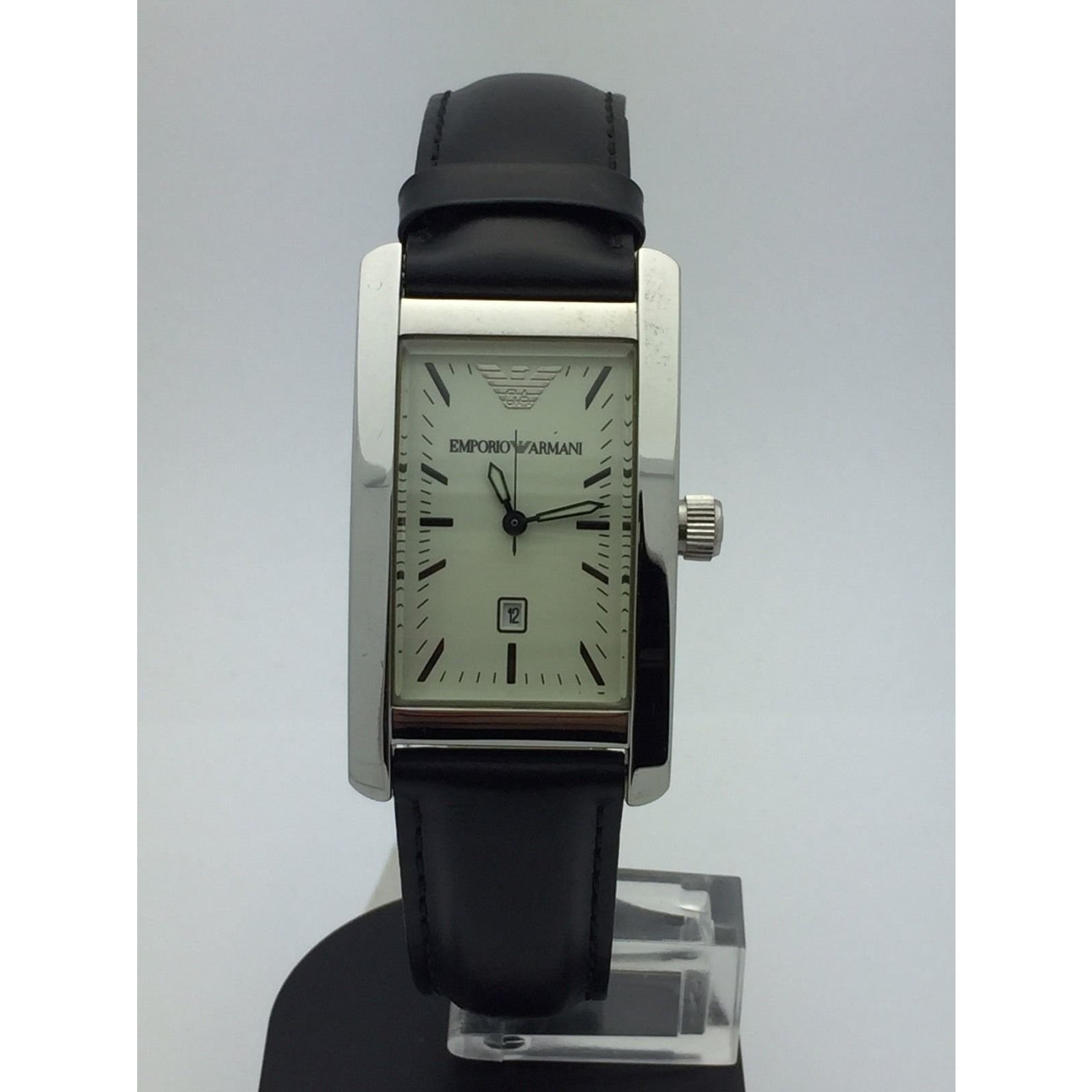 4e299aa79 Emporio Armani Unisex White Dial Stainless Black Leather 50M Watch AR0 –  ELI ADAMS JEWELERS