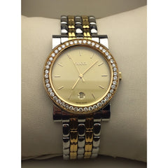 Gucci Unisex Genuine Two-Tone 47 Diamonds Gold Dial Date 4300M Watch