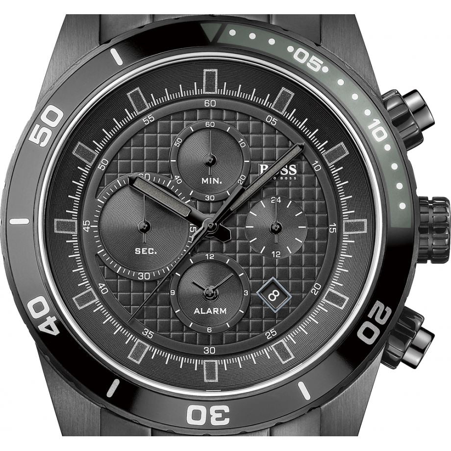 HUGO BOSS Black Chronograph Dial and Alarm Black PVD Men's Watch 1512658