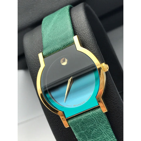 Limited Movado Ladies Gold Tone Museum Sapphire Green Dial Leather Band 0603191