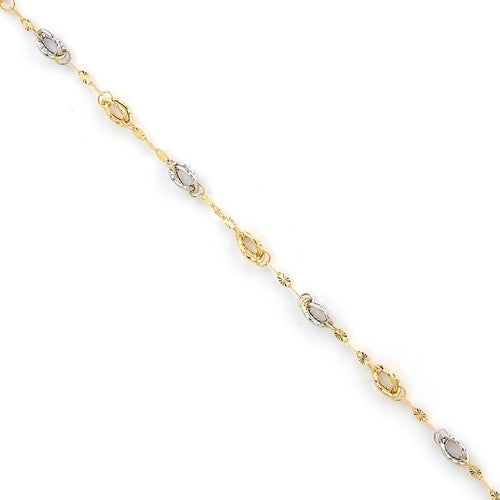 BRQG3851-7.25 Leslies 14k Two Tone Fancy Link Bracelet