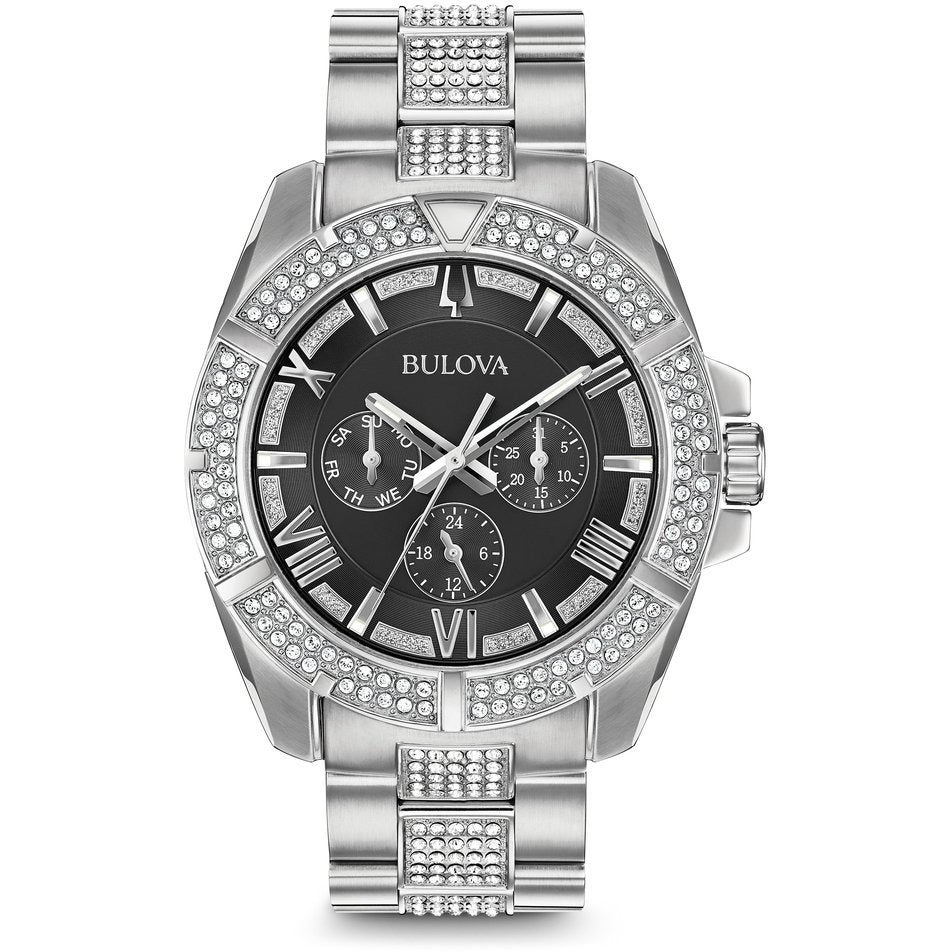 Bulova Men's Swarovski Crystals Luminous Markers Stainless Steel Watch 96C126