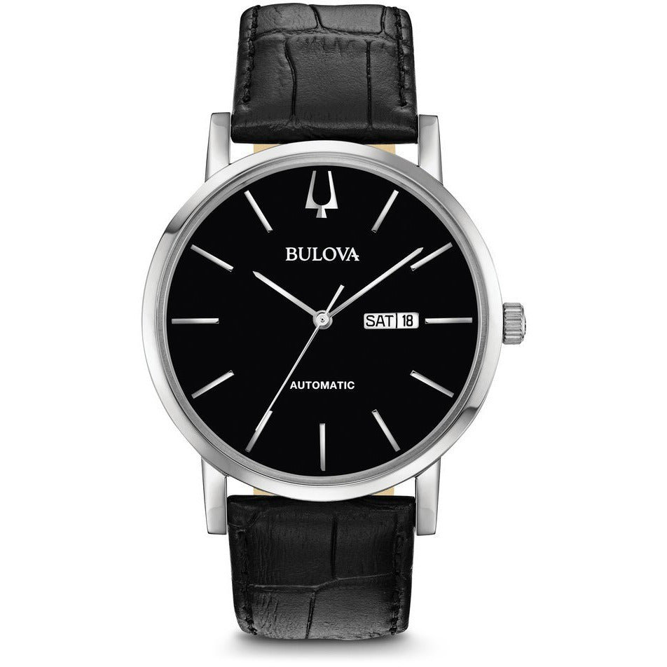 Bulova Men's Black Dial and Leather Strap Classic Automatic Watch 96C131