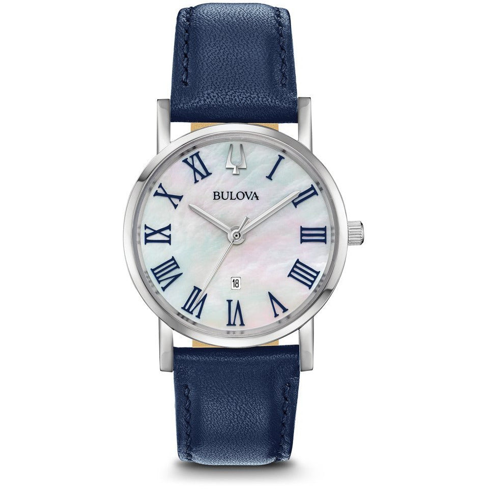 Bulova Women's Classic Mother of Pearl Dial Blue Leather Strap Watch 96M146