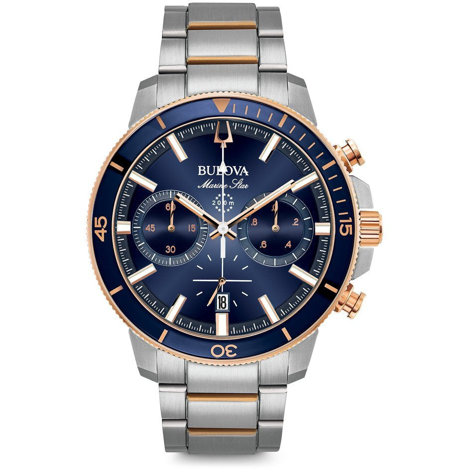 Bulova Men's Marine Star Blue Dial Stainless Steel Chronograph Watch 98B301