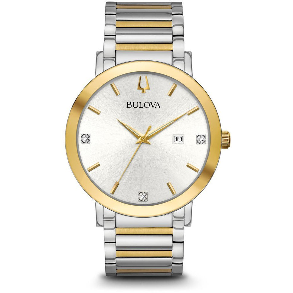Bulova Men's Modern Diamond Dial Two Tone Gold Silver Watch 98D151