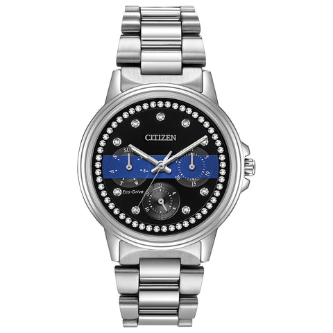 Citizen Ladies Thin Blue Line™  Multifunction Dial Crystal Women's Watch FD2041-54E