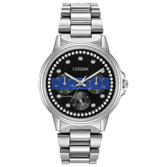 Citizen Ladies Thin Blue Line Multifunction Dial Crystal Women's Watch FD2041-54E