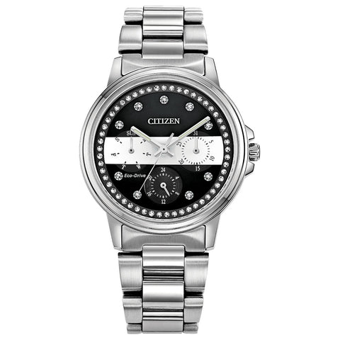 Citizen Ladies Thin White Line™ Multifunction Dial Crystal Women's Watch FD2048-55E