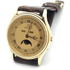 Concord Triple Day/Date/Month Moon Calendar 14k Gold Men's Watch