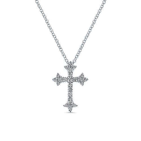 14K White Gold Diamond Cross Pendant Necklace NK5273W45JJ