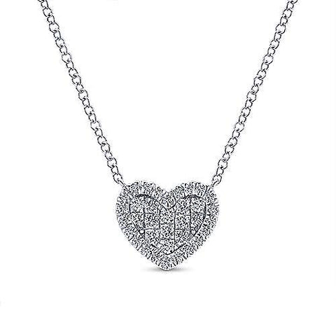14K White Gold Diamond Heart Pendant Necklace NK5267W45JJ