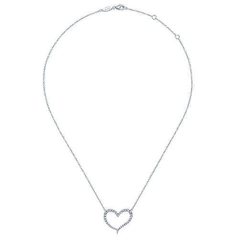 14K White Gold Open Diamond Heart Pendant Necklace NK5266W45JJ