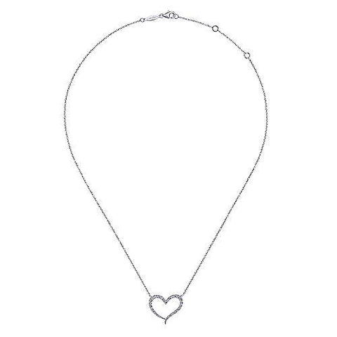 14K White Gold Open Heart Diamond Pendant Necklace NK5265W45JJ