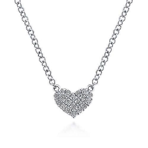 14K White Gold Pav Diamond Pendant Heart Necklace NK5450W45JJ