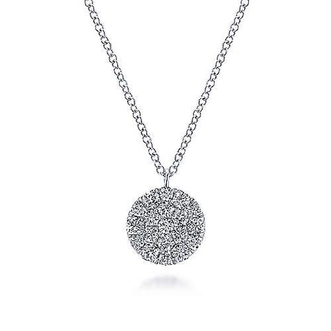 14K White Gold Round Diamond Disc Pendant Necklace NK5334W45JJ
