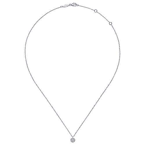 14K White Gold Round Pav Diamond Disc Pendant Necklace NK5332W45JJ