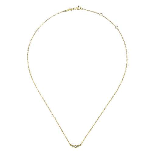 14K Yellow Gold Curved Round Diamond Bar Necklace NK5424Y45JJ