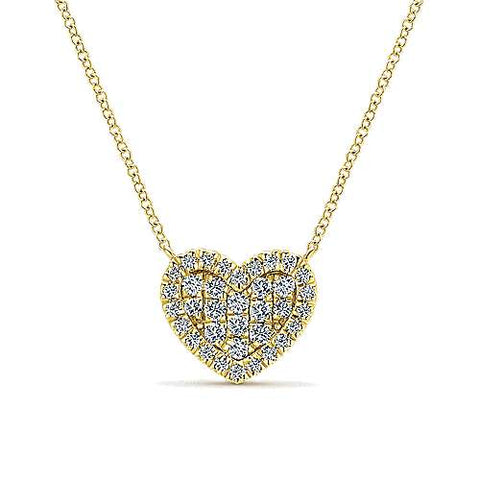 14K Yellow Gold Diamond Heart Pendant Necklace NK5267Y45JJ