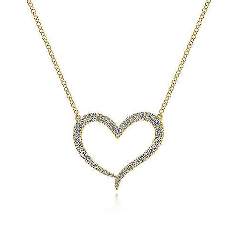 14K Yellow Gold Open Heart Diamond Pendant Necklace NK5265Y45JJ