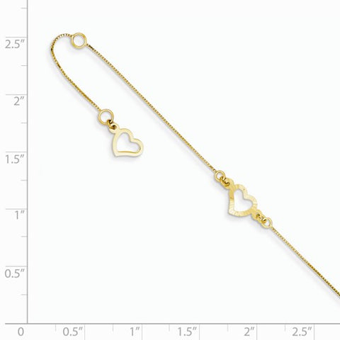 ANKQGANK157-9 14K Adjustable Fancy Heart Anklet