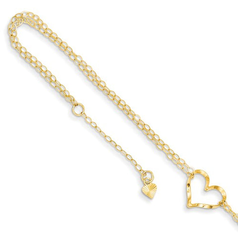 "ANKQGANK173-9 14k Double Strand Heart 9"" With 1"" Ext Anklet"