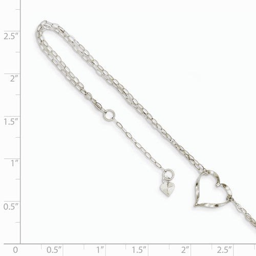 ANKQGANK174-9 14k White Gold Double Strand Heart Anklet