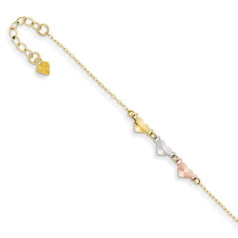 ANKQGANK175-9 14K Tri-Color Adjustable Heart Anklet