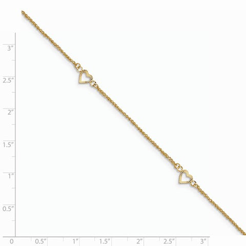 ANKQGANK218-10 14k Diamond-Cut Hearts With 9in 1in Ext Anklet
