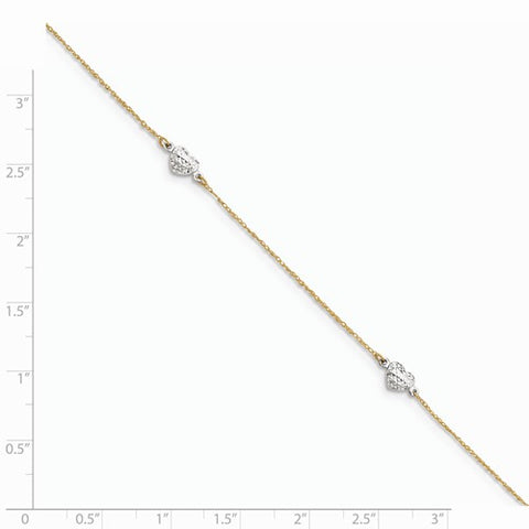 ANKQGANK219-10 14k Two-Tone Puff Heart 9in With 1in Ext Anklet