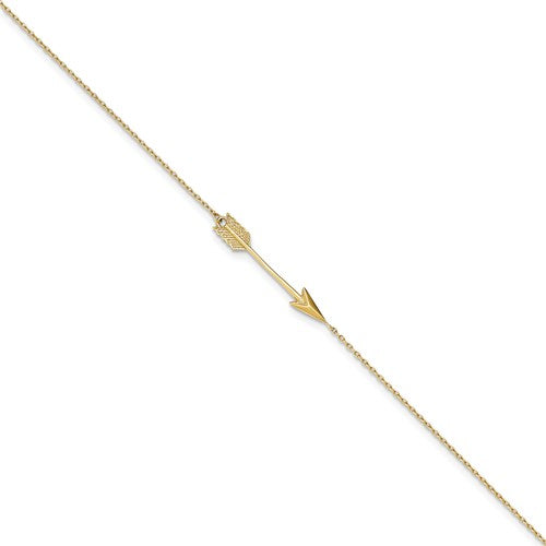 ANKQGANK275-9 14K Polished Arrow With 1 IN EXT Anklet
