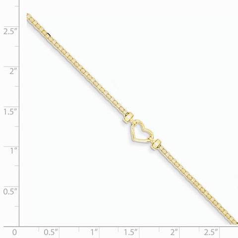 ANKQGANK29-9 14k Fancy Heart Anklet