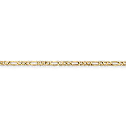 ANKQGBC120-10 14k 2.5mm Semi-Solid Figaro Chain