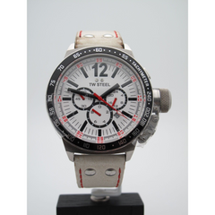 TW Steel Mens Stainless Steel White Chrono Dial White Leather Band Watch CE1013