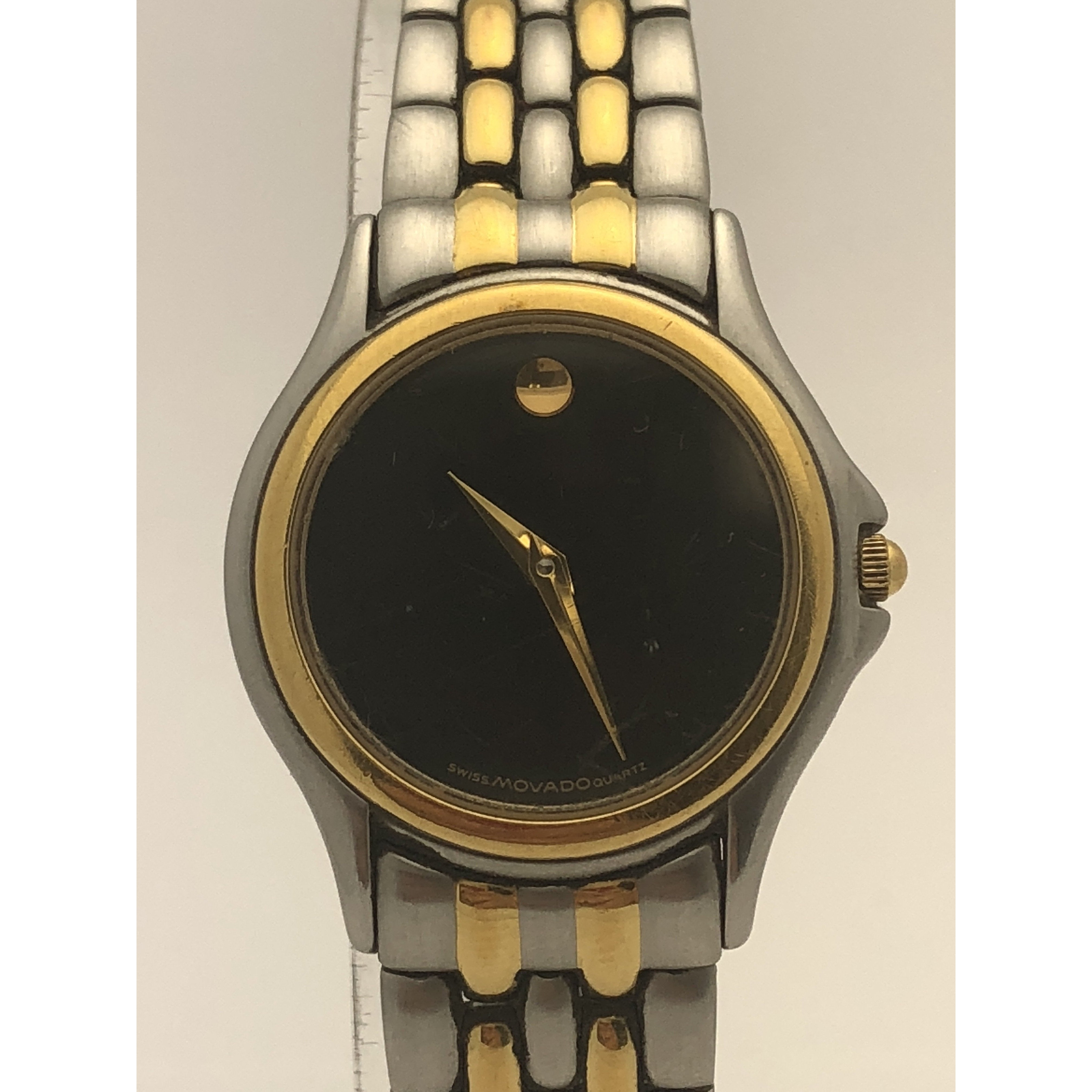 Movado Ladies Black Dial Quartz Two Tone Stainless Steel Museum Watch 8188751