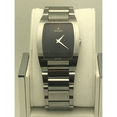 Movado Men's Fiero Black Dial Silver Tone Tungsten Bracelet Watch 0605621