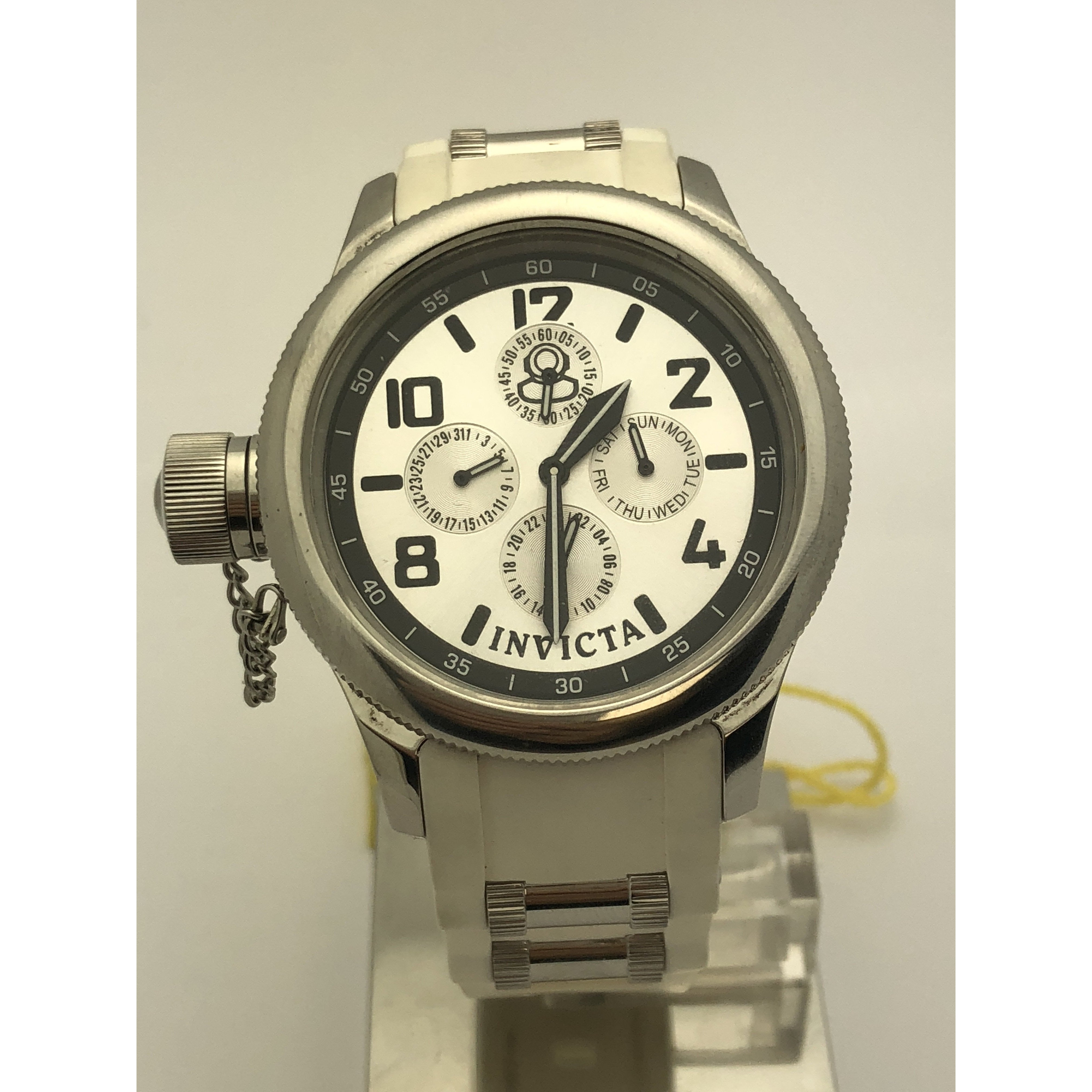 Invicta Ladies Russian 1959 Diver White Rubber Band Silver Dial Watch 1812