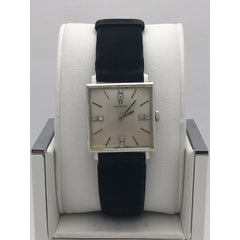 Omega Ladies Silver Tone Dial Black Suede Leather Strap 14K Gold Case Watch