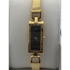 Movado Ladies Quartz Black Dial Gold Tone Stainless Steel Watch 10336299