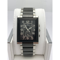 Croton Men's Black Dial Two Tone Black/Silver Stainless Steel Watch