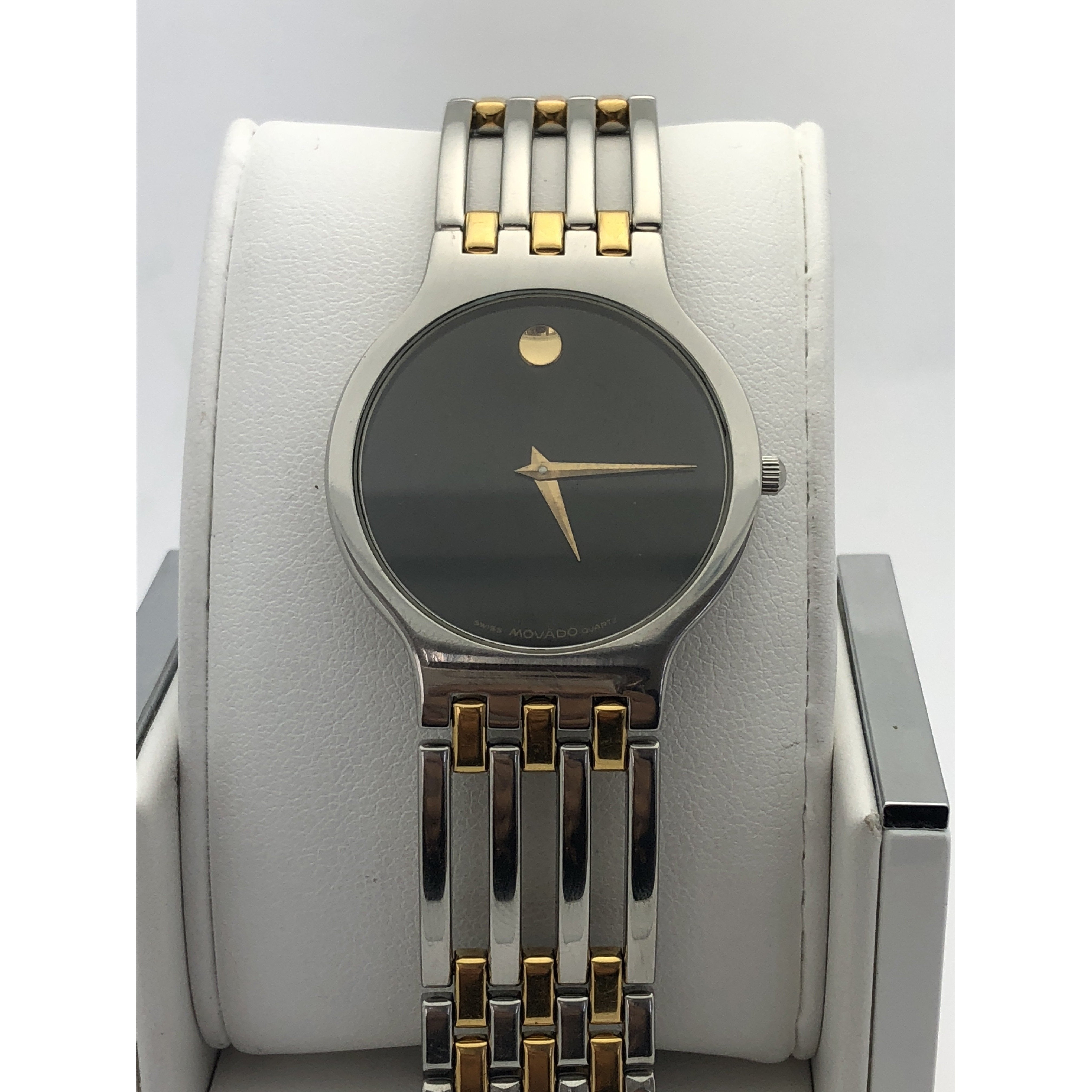 Movado Ladies Quartz Black Dial Two Tone Stainless Steel Watch 169471