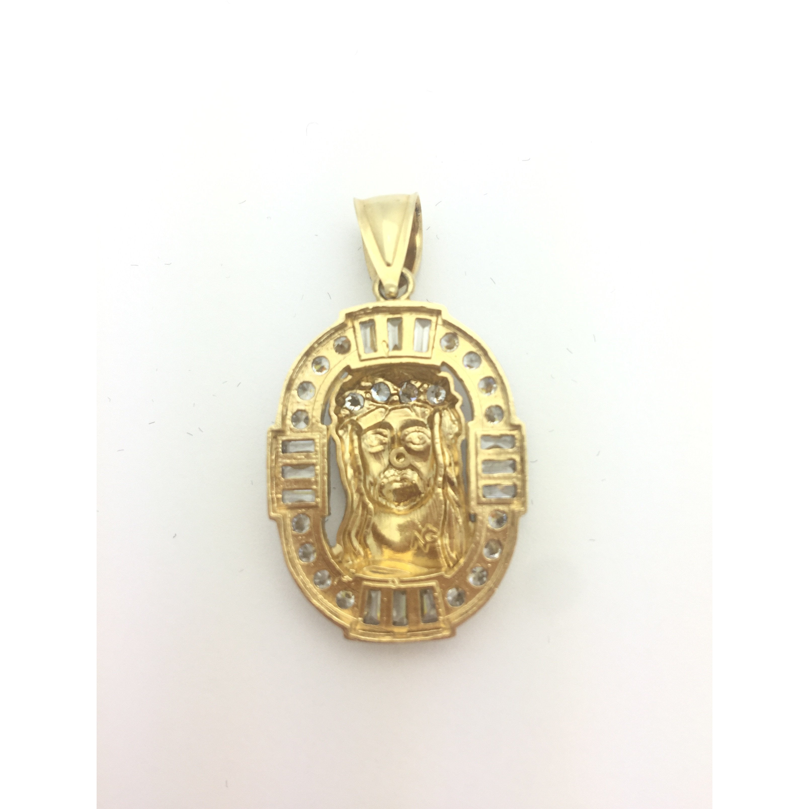 CHAR014 14K TWO TONED JESUS PENDANT WITH CRYSTALS