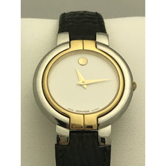 Movado Ladies White Museum Dial Black Leather Band 0602836